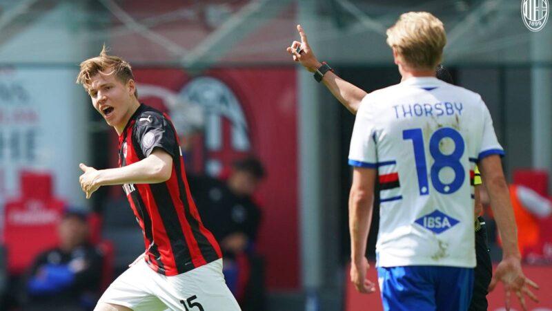 Milan-Sampdoria, LE PAGELLE: Hauge salvatore, Theo da incubo